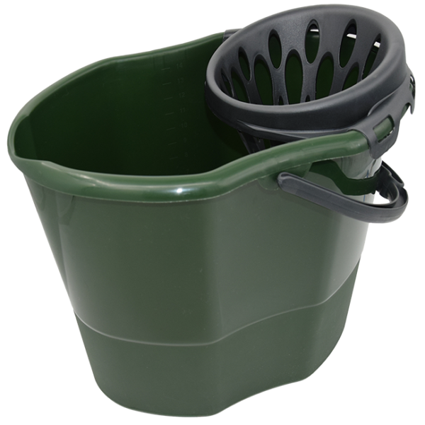 Secchio con strizzatore 15 lt realizzato con materiuale riciclato verde con strizzatore e manico antracite
